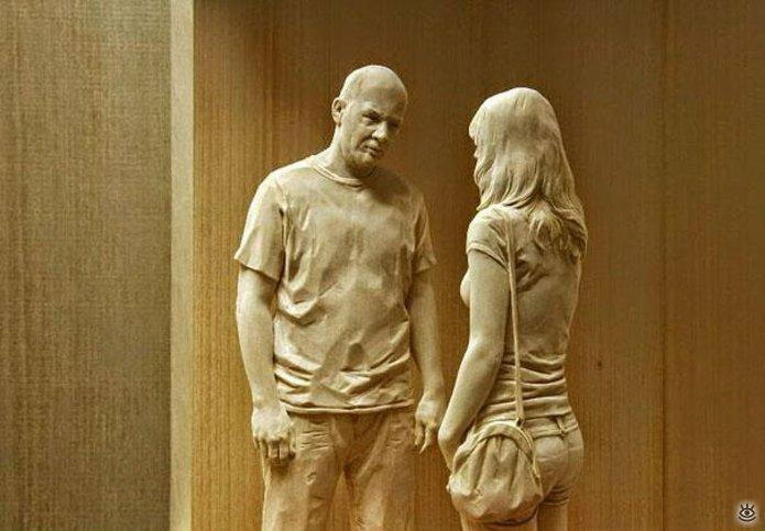 Удивительные деревянные скульптуры 7