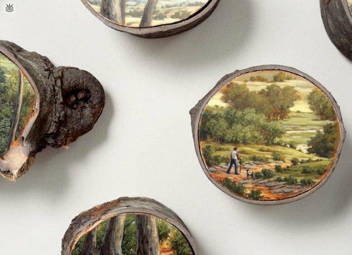 Картины на спиле дерева 7
