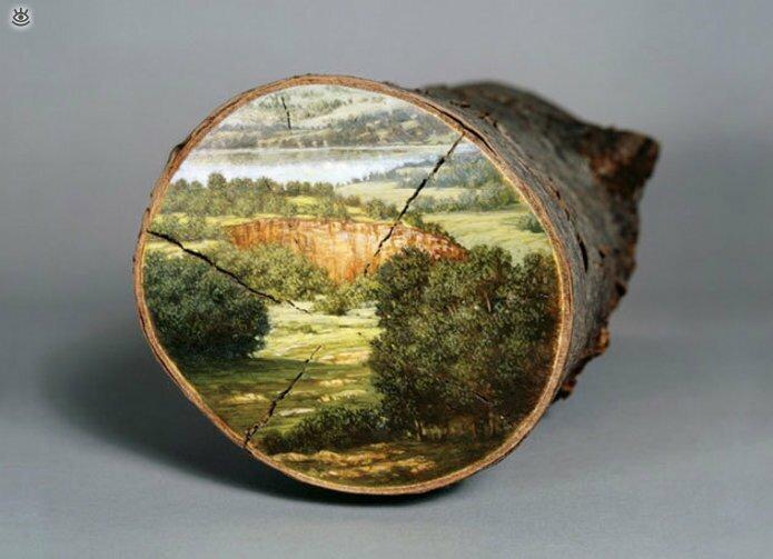 Картины на спиле дерева 9