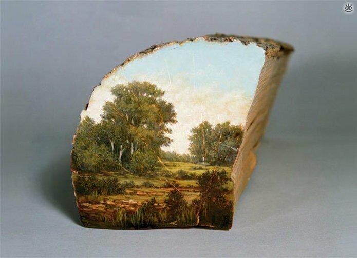 Картины на спиле дерева 13