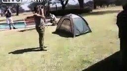 Смотреть Испугали палатку