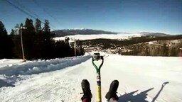 Зимний аттракцион на лопате смотреть видео прикол - 0:53