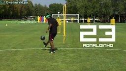 Смотреть Звезды футбола набивают мяч вслепую