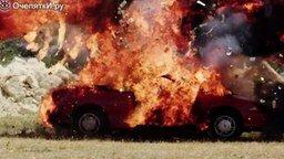 Смотреть Взрыв авто в замедлении