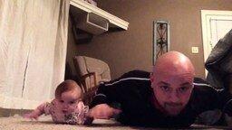 Дочка учит папу делать зарядку смотреть видео прикол - 1:34