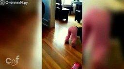 Котёнок атакует малышку смотреть видео прикол - 0:21