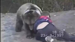 Смотреть Мальчик борется с медведем