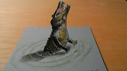 Смотреть Объёмный рисунок крокодила