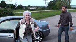 Бабуля угнала БМВ смотреть видео прикол - 0:38