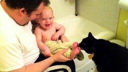 Смотреть Кошка лижет ступни ребёнка