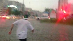 Смотреть Пешеход переплывает дорогу
