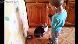 Смотреть Мальчик кормит кота