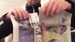 Таинственный фокус с газетой смотреть видео прикол - 0:30