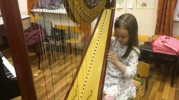Смотреть Девочка играет на арфе