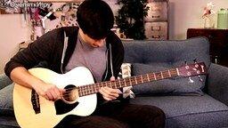 Смотреть Бас на акустической гитаре