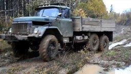 Смотреть ЗИЛ и ГАЗ-66 месят грязь на бездорожье