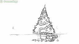 Кот и новогодняя ёлка смотреть видео прикол - 2:13