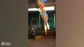 Как горят воздушные шары смотреть видео прикол - 0:26