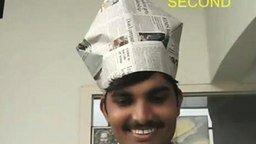 Делаем шапки из газеты смотреть видео прикол - 2:43